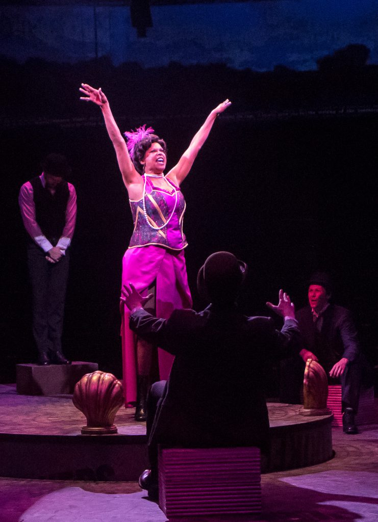 Terry Burrell as Medda Larkin in DISNEY'S NEWSIES, produced by Broadway At Music Circus at the Wells