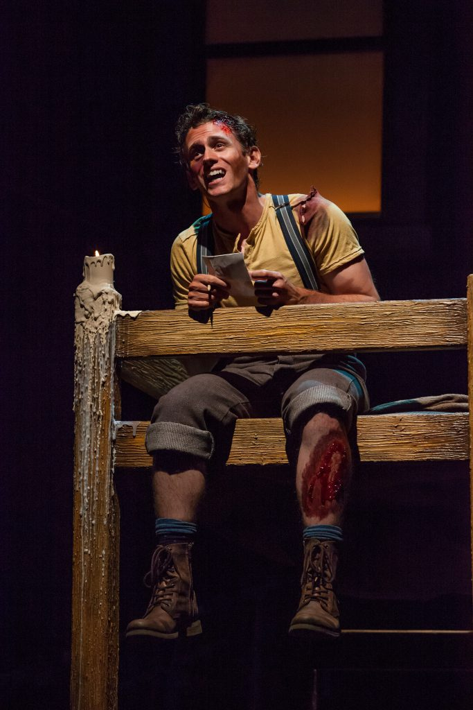 Blake Stadnik as Crutchie in DISNEY'S NEWSIES, produced by Broadway At Music Circus at the Wells Far