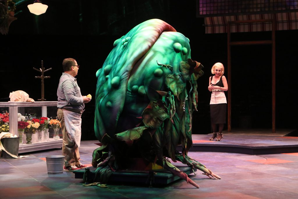 (left to right) Jared Gertner as Seymour and Sarah Litzsinger as Audrey in LITTLE SHOP OF HORRORS pr