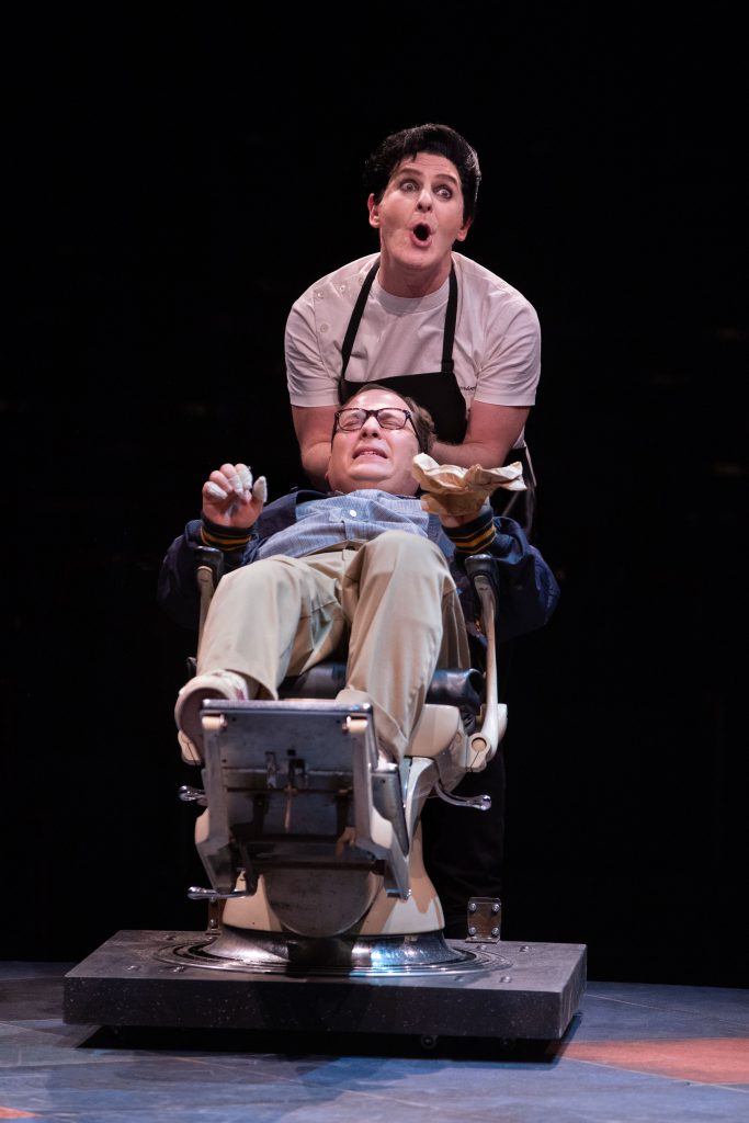 (from top) Jamison Stern as Orin and Jared Gertner as Seymour in LITTLE SHOP OF HORRORS produced by