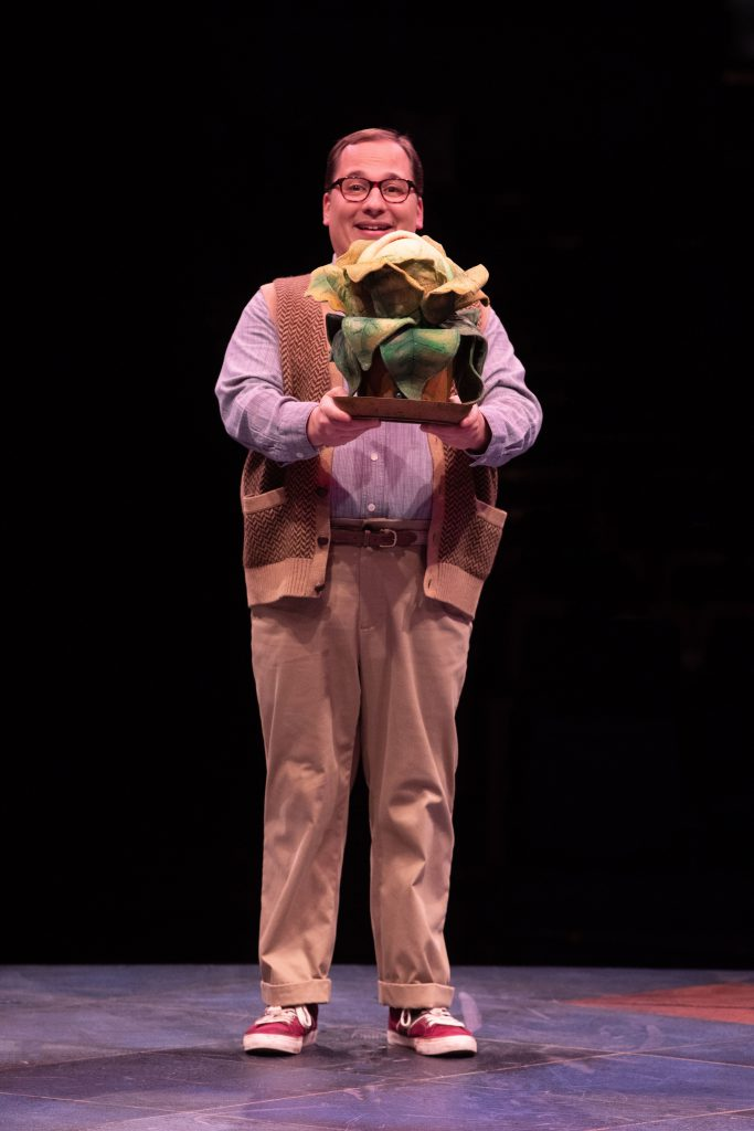 Jared Gertner as Seymour in LITTLE SHOP OF HORRORS produced by Broadway At Music Circus at the Wells
