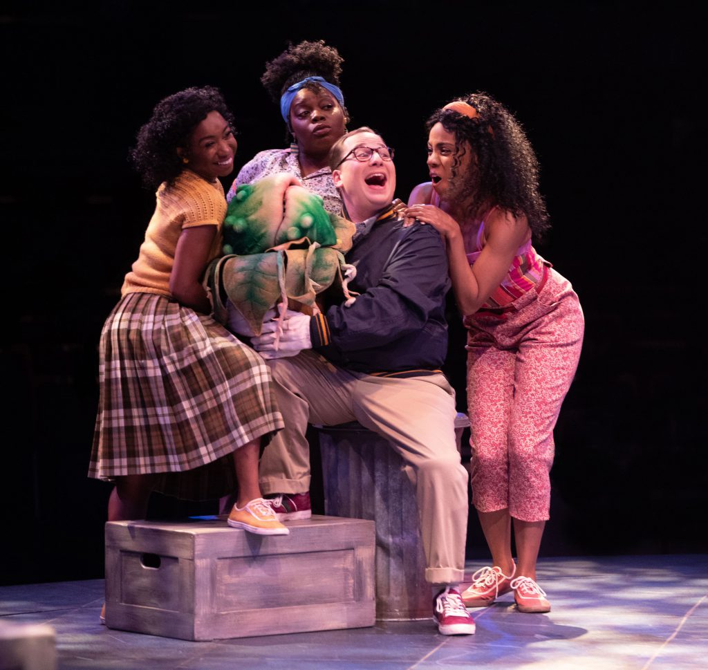 (left to right) Destinee Rea as Chiffon, Zonya Love as Crystal, Jared Gertner as Seymour and Zuri Wa