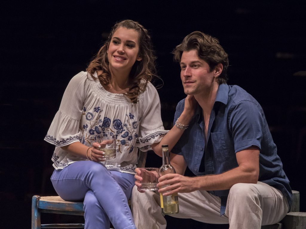 Francesca Arostegui as Sophie Sheridan and Michael Campayno as Sky in MAMMA MIA!, produced by Broadw