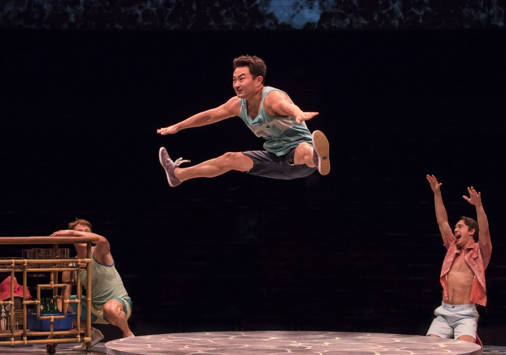 (center) Marcus Shane as Pepper in MAMMA MIA!, produced by Broadway At Music Circus at the Wells Far