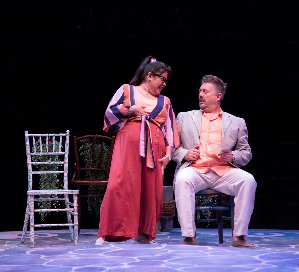 Jodi Kimura as Rosie and Eric Petersen as Bill Austin in MAMMA MIA!, produced by Broadway At Music C