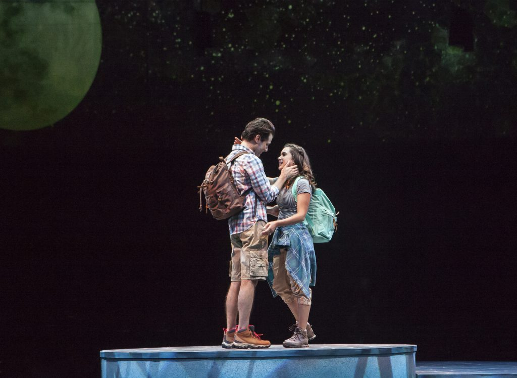 Michael Campayno as Sky and Francesca Arostegui as Sophie Sheridan in MAMMA MIA!, produced by Broadw