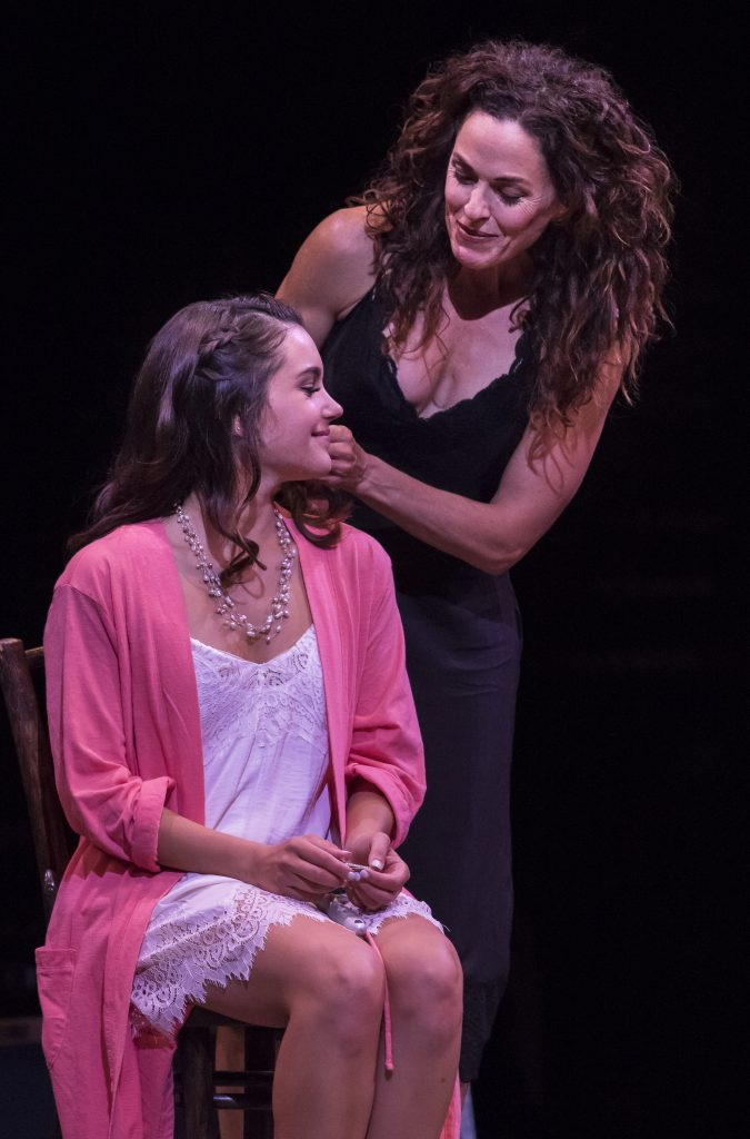 (from L to R) Francesca Arostegui as Sophie Sheridan and Michelle Dawson as Donna Sheridan in MAMMA