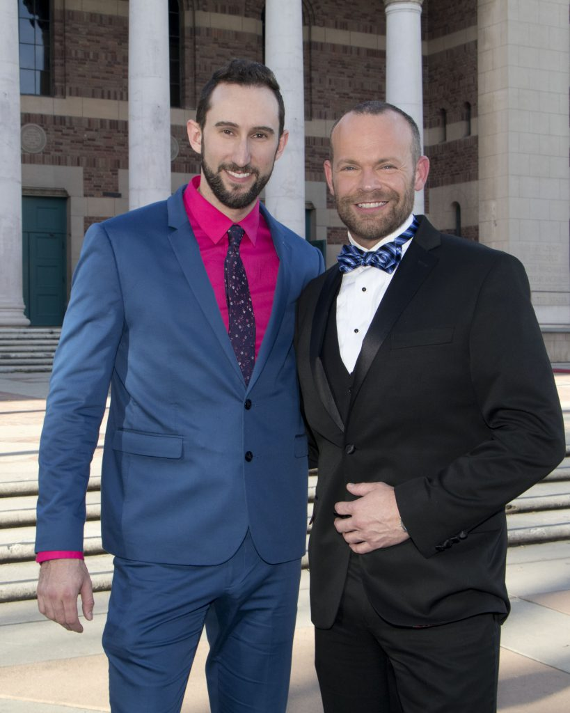 Brandon Timm and Gala emcee and Board Member, Rob Stewart at the Broadway Sacramento Gala May 5, 201