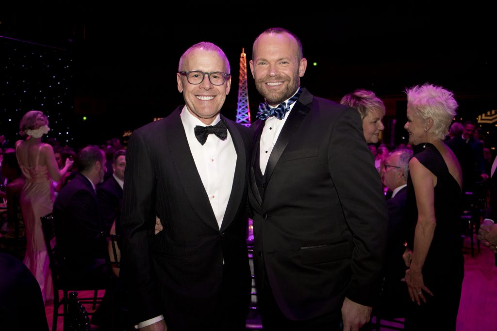 Garry Maisel and board member and emcee Rob Stewart at the Broadway Sacramento Gala May 5, 2018