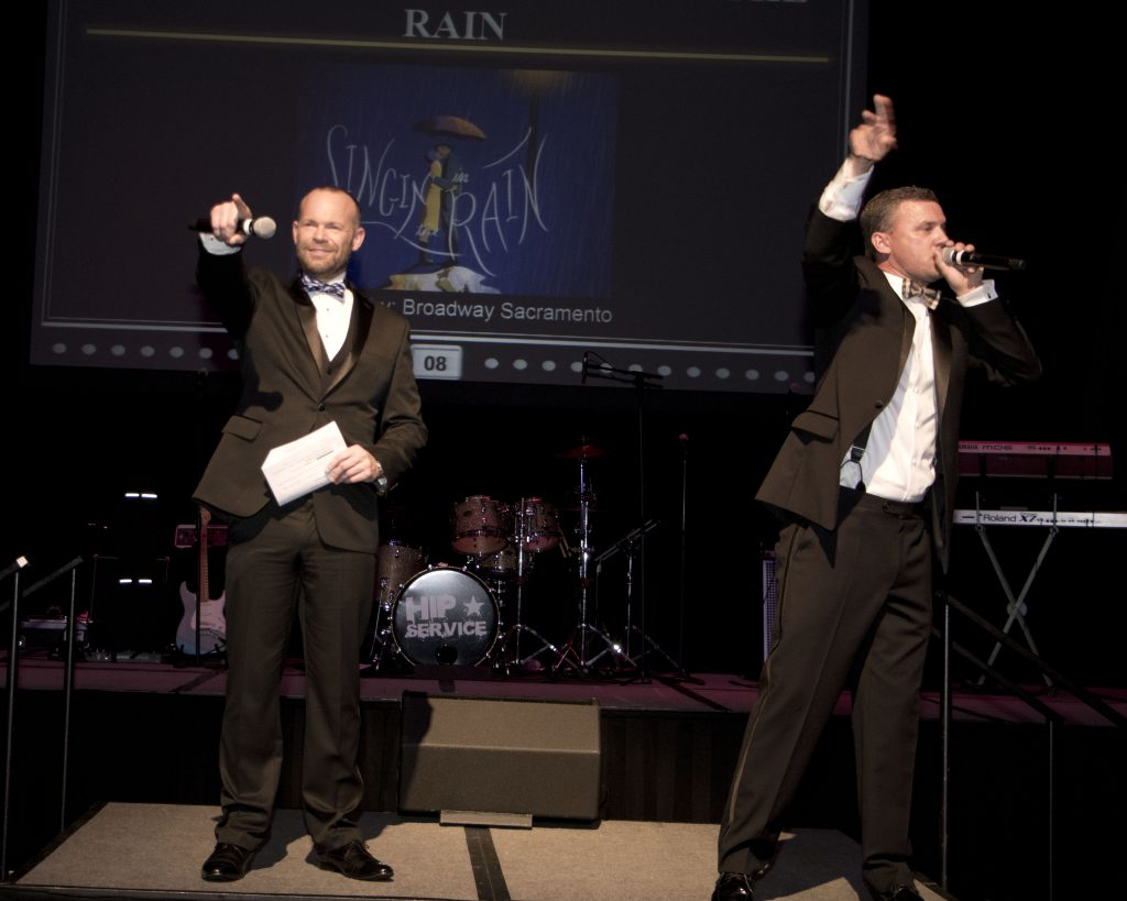 Emcee and board member Rob Stewart and Auctioneer Jake Parnell at the Broadway Sacramento Gala May 5