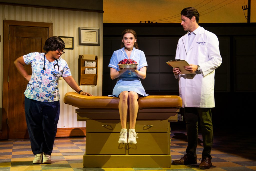 Rheaume Crenshaw, Christine Dwyer and Steven Good in the Broadway On Tour presentation of WAITRESS at the Sacramento Community Center Theater Dec. 27, 2018 – Jan. 5, 2019. Photo by Philicia Endelman.