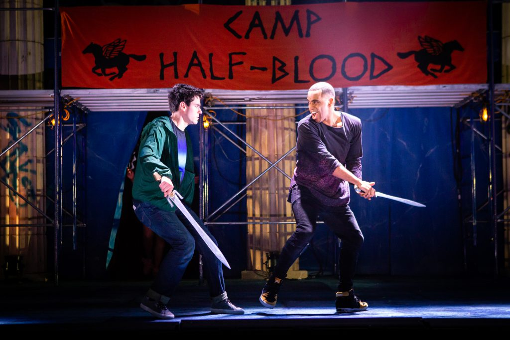 James Hayden Roderiguez and Chris McCarrell in THE LIGHTNING THIEF: THE PERCY JACKSON MUSICAL presented by Broadway On Tour at the Sacramento Community Center Theater Apr. 19-21, 2019. Photo by Jeremy Daniel.