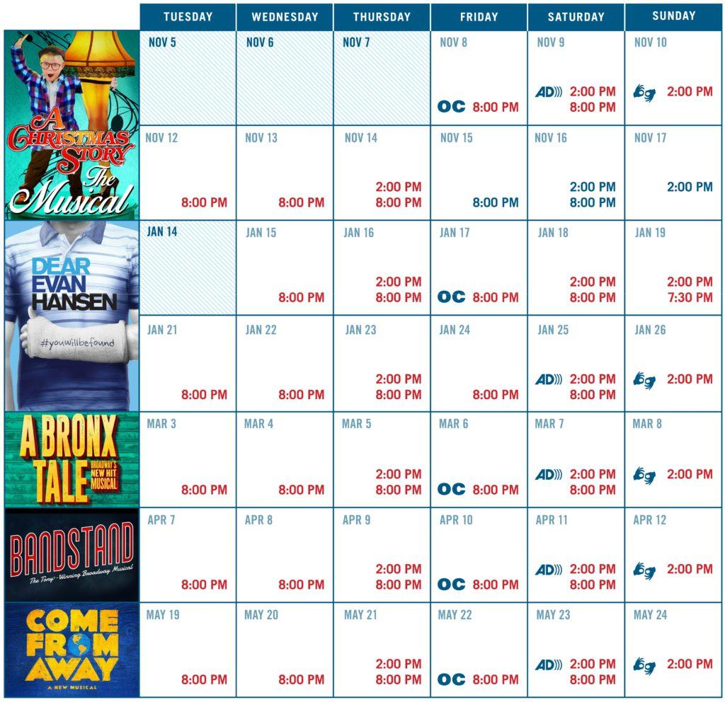 Season Ticket Performance Calendar and Prices - Broadway Sacramento