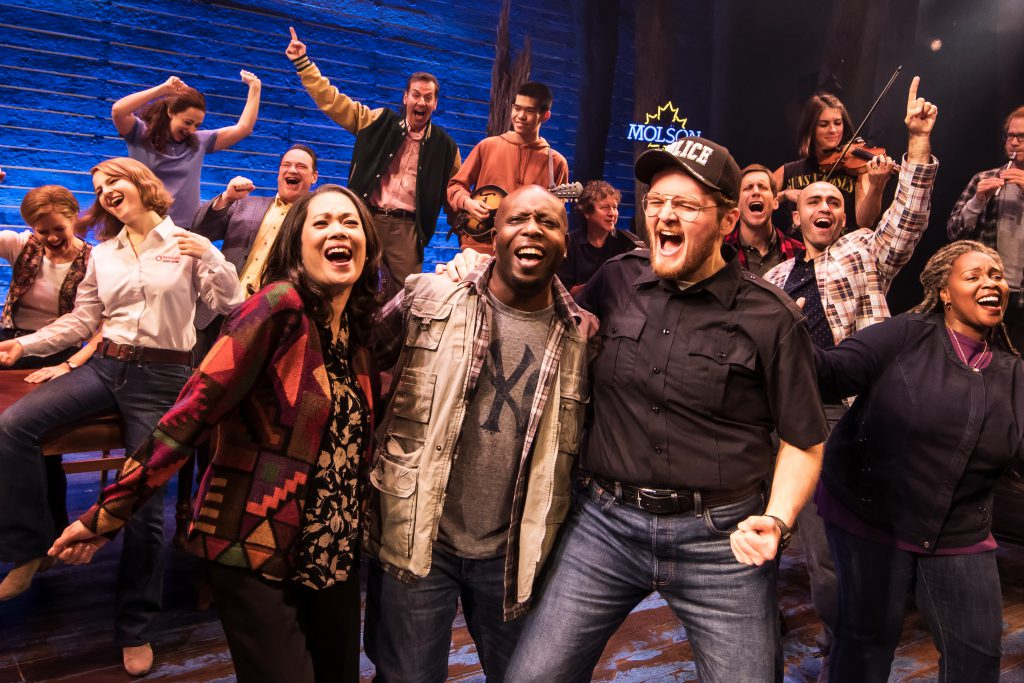 Company of COME FROM AWAY presented by Broadway On Tour May 19 – 24, 2020 at Memorial Auditorium. Photo by Matthew Murphy.
