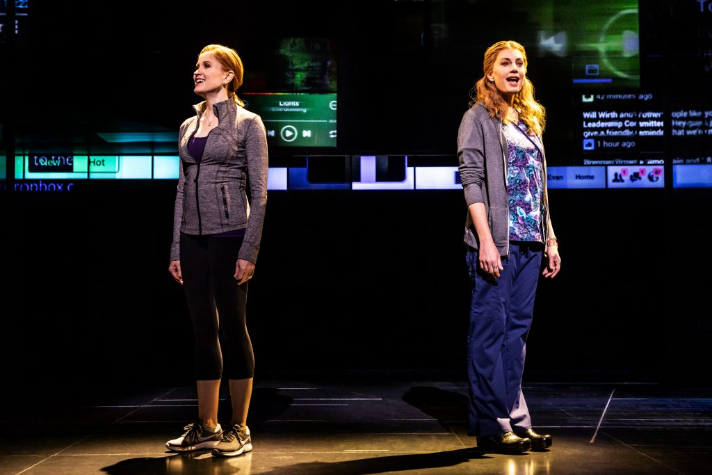 Christiane Noll as Cynthia Murphy and Jessica Phillips as Heidi Hansen in DEAR EVAN HANSEN presented by Broadway On Tour Jan. 15-26, 2020 at the Memorial Auditorium. Photo by Matthew Murphy.