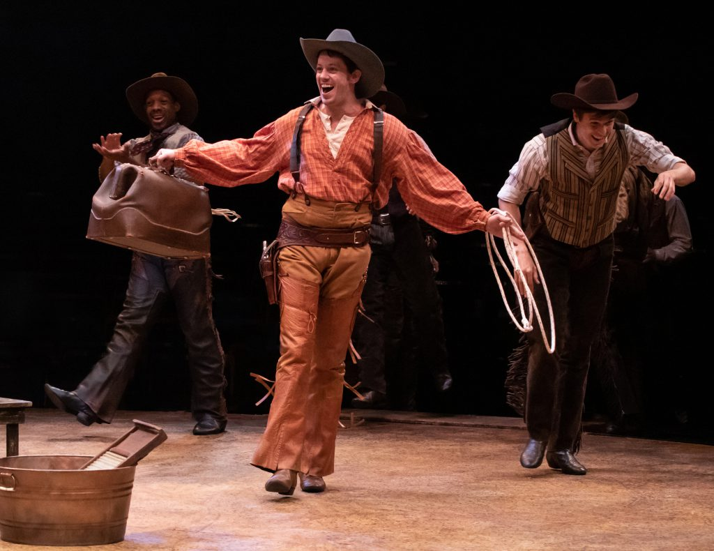 (L to R) Randy Castillo, Pierce Cassedy as Will Parker and Jonathan Savage as Slim in OKLAHOMA! produced by Broadway At Music Circus at the Wells Fargo Pavilion June 25-30. Photo by Charr Crail.