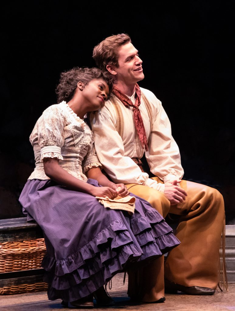 Emilie Kouatchou as Laurey Williams and Ryan Vasquez as Curly McLain in OKLAHOMA! produced by Broadway At Music Circus at the Wells Fargo Pavilion June 25-30. Photo by Charr Crail.