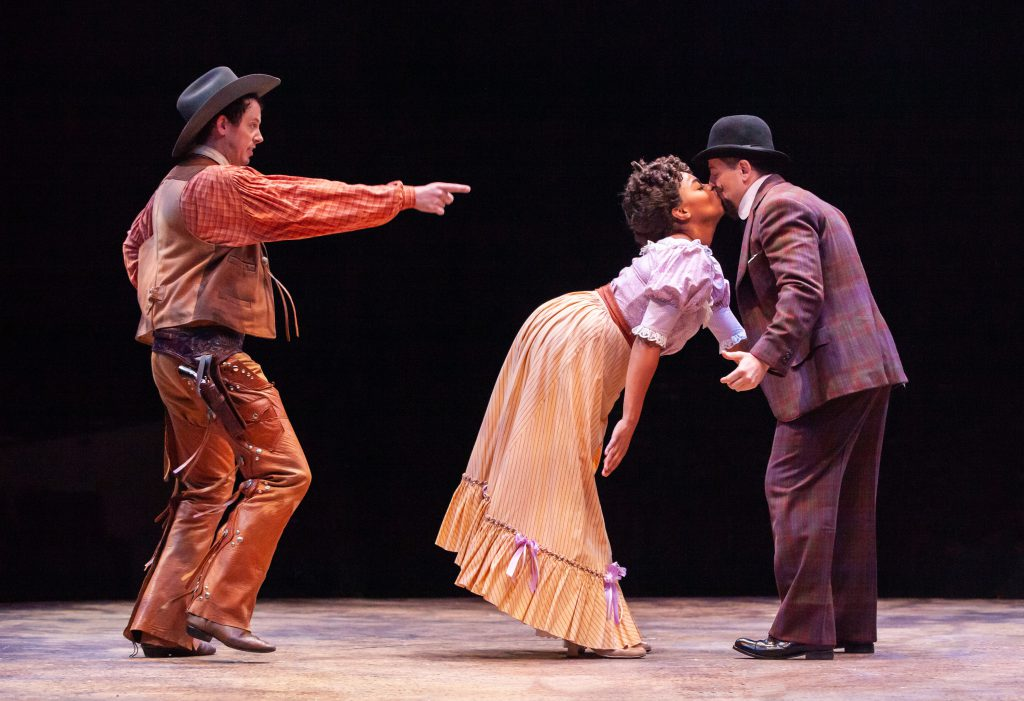 (L to R) Pierce Cassedy as Will Parker, Brit West as Ado Annie Carnes and Jeff Skowron as Ali Hakim in OKLAHOMA! produced by Broadway At Music Circus at the Wells Fargo Pavilion June 25-30. Photo by Charr Crail.
