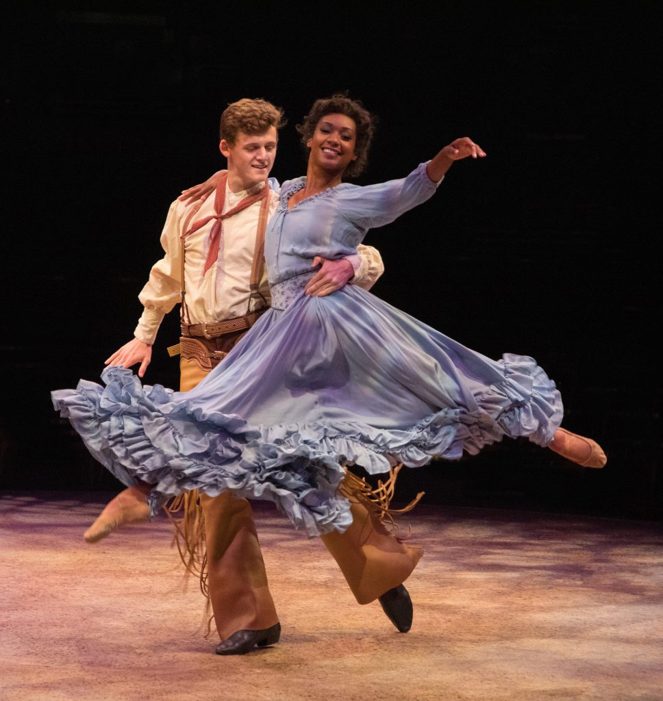 Conrad Sager as Dream Curly and Taeler Cyrus as Dream Laurey in OKLAHOMA! produced by Broadway At Music Circus at the Wells Fargo Pavilion June 25-30. Photo by Kevin Graft.