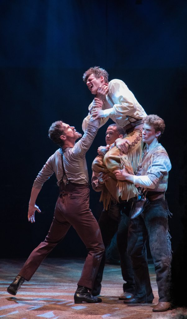 (L to R) Stephen Hanna as Dream Jud, Conrad Sager as Dream Curly, Adam Rogers and Cole Newburg in OKLAHOMA! produced by Broadway At Music Circus at the Wells Fargo Pavilion June 25-30. Photo by Kevin Graft.