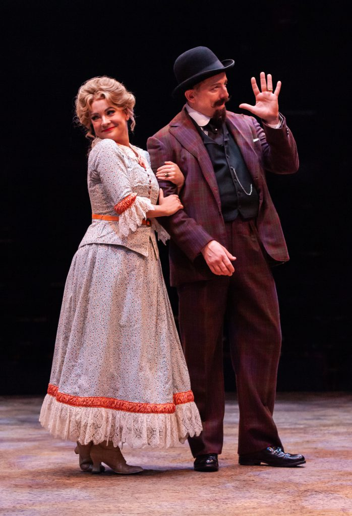 Ashley Arcement as Gertie Cummings and Jeff Skowron as Ali Hakim in OKLAHOMA! produced by Broadway At Music Circus at the Wells Fargo Pavilion June 25-30. Photo by Charr Crail.