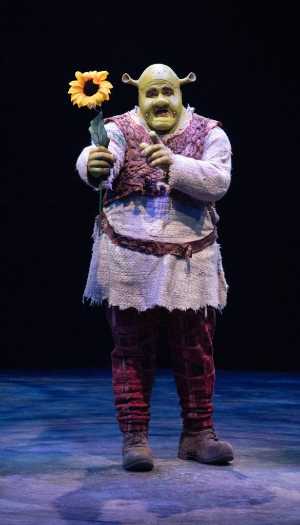 Jacob Keith Watson as Shrek in SHREK THE MUSICAL produced by Broadway At Music Circus at the Wells Fargo Pavilion June 11-16. Photo by Kevin Graft.