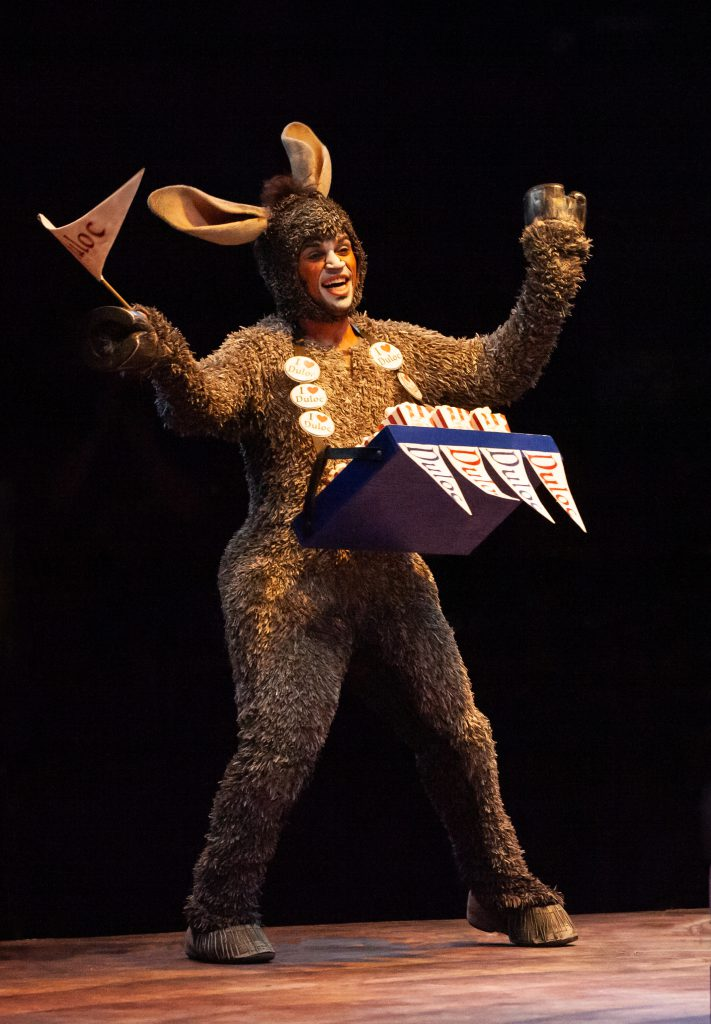 André Jordan as Donkey in SHREK THE MUSICAL produced by Broadway At Music Circus at the Wells Fargo Pavilion June 11-16. Photo by Charr Crail.