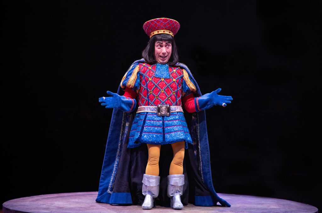 Steven Strafford as Lord Farquaad in SHREK THE MUSICAL produced by Broadway At Music Circus at the Wells Fargo Pavilion June 11-16. Photo by Kevin Graft.