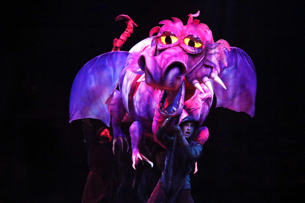 Dragon puppet by Richard Bay and the company of SHREK THE MUSICAL produced by Broadway At Music Circus at the Wells Fargo Pavilion June 11-16. Photo by Charr Crail.