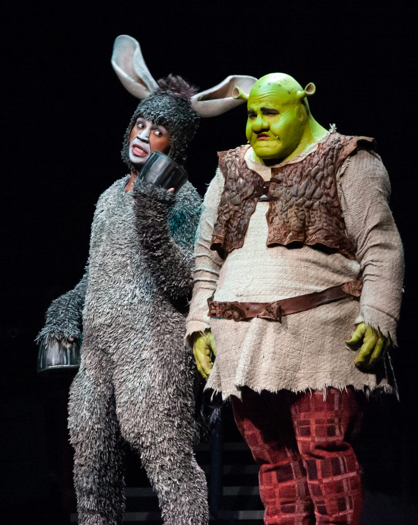 André Jordan as Donkey and Jacob Keith Watson as Shrek in SHREK THE MUSICAL produced by Broadway At Music Circus at the Wells Fargo Pavilion June 11-16. Photo by Charr Crail.
