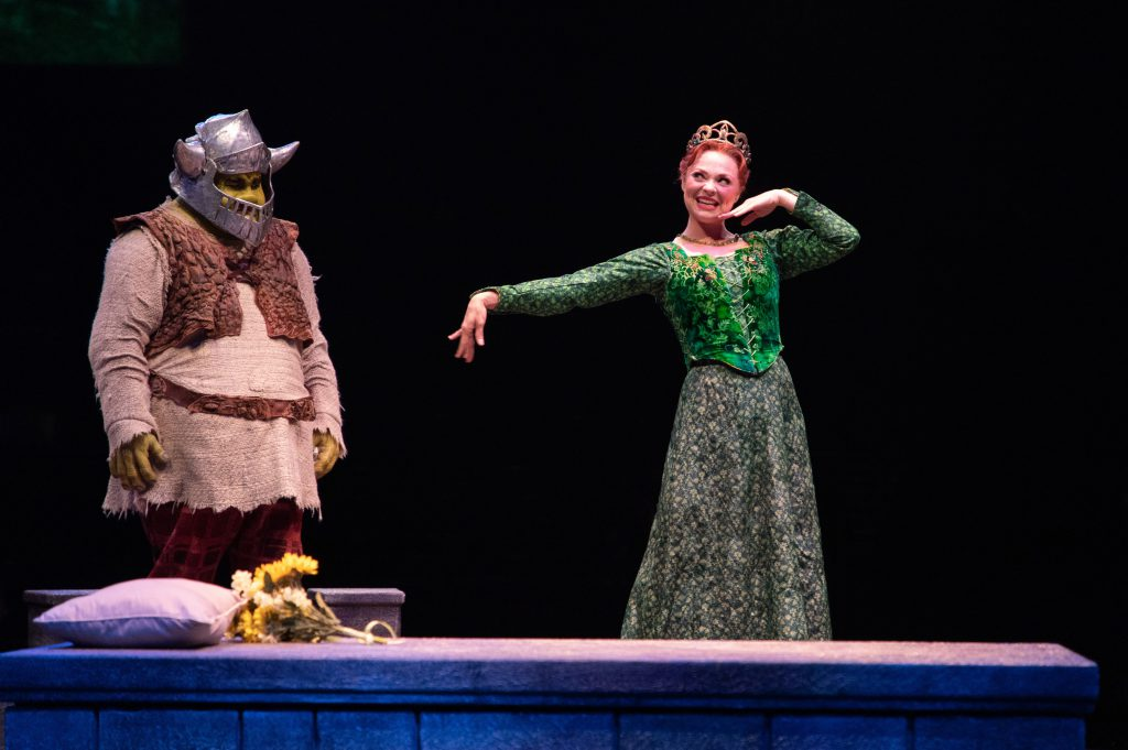 Jacob Keith Watson as Shrek and Kristen Beth Williams as Princess Fiona in SHREK THE MUSICAL produced by Broadway At Music Circus at the Wells Fargo Pavilion June 11-16. Photo by Kevin Graft.