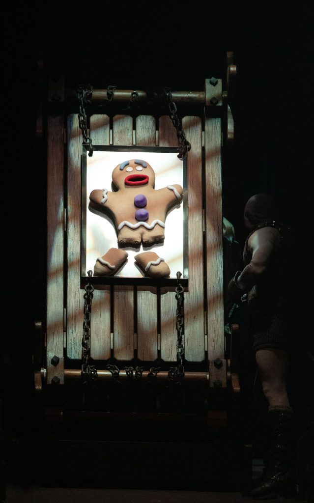 Gingy puppet by Richard Bay and the company of SHREK THE MUSICAL produced by Broadway At Music Circus at the Wells Fargo Pavilion June 11-16. Photo by Kevin Graft.