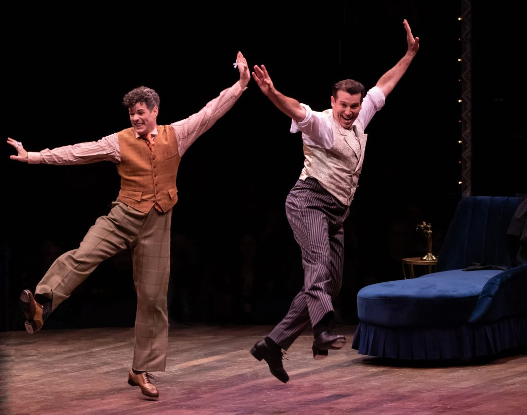 Jacob ben Widmar as George and Matt Loehr as Robert Martin in THE DROWSY CHAPERONE produced by Broadway At Music Circus at the Wells Fargo Pavilion July 9-14. Photo by Charr Crail.