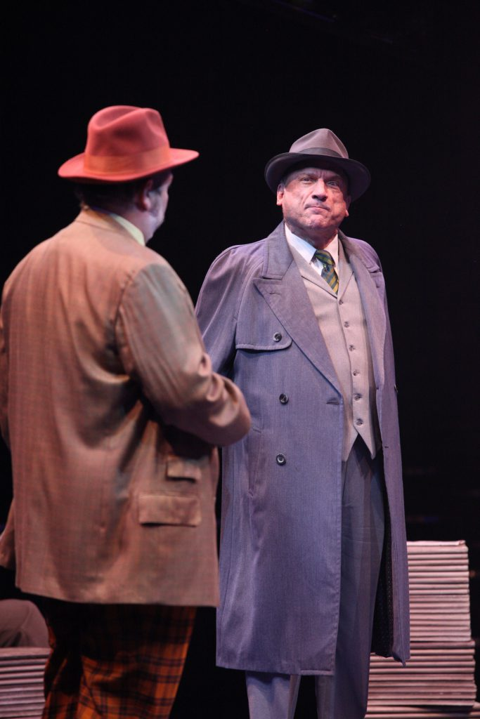 (L to R) Evan Harrington as Nicely-Nicely Johnson and Ron Wisniski as Lieutenant Brannigan in GUYS AND DOLLS produced by Broadway At Music Circus at the Wells Fargo Pavilion July 23-28. Photo by Charr Crail.
