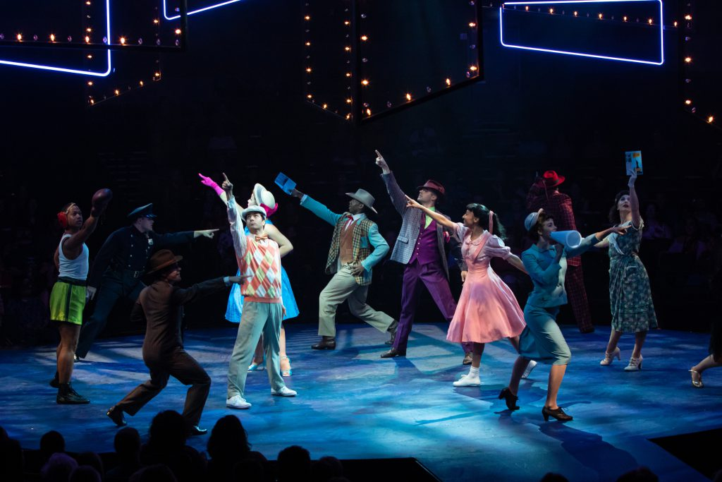 The company of GUYS AND DOLLS produced by Broadway At Music Circus at the Wells Fargo Pavilion July 23-28. Photo by Charr Crail.