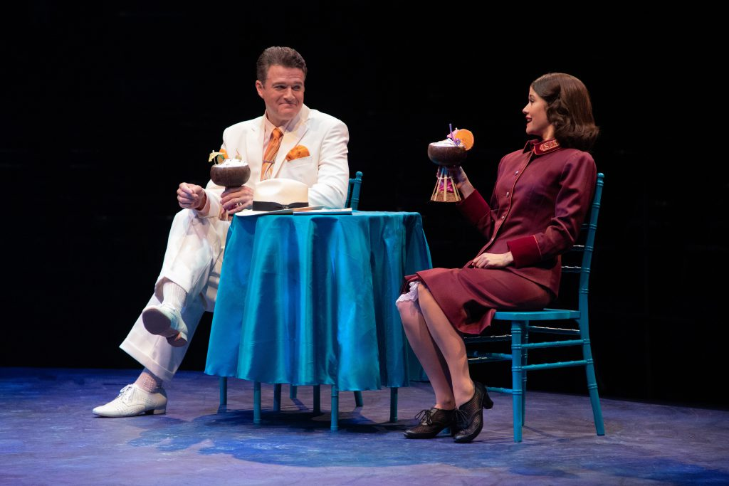 Edward Watts as Sky Masterson and Ali Ewoldt as Sarah Brown in GUYS AND DOLLS produced by Broadway At Music Circus at the Wells Fargo Pavilion July 23-28. Photo by Kevin Graft.