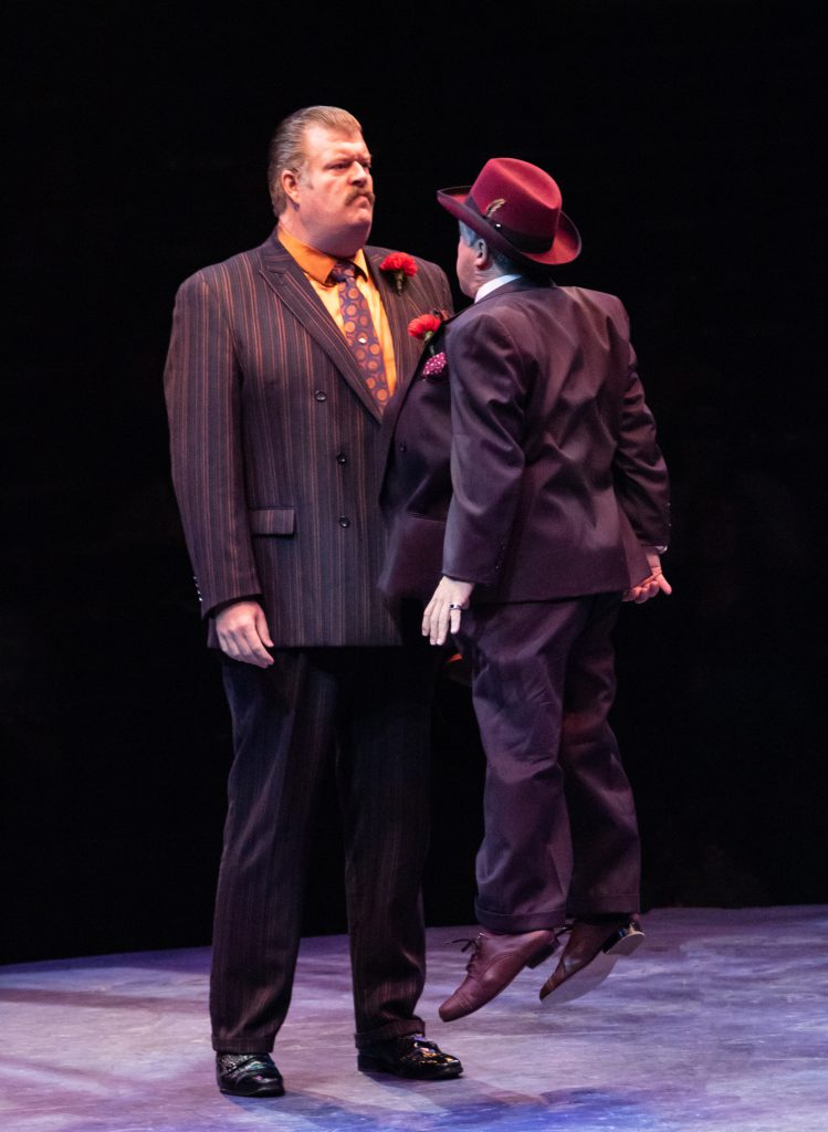 Jerry Gallagher as Big Jule and Carlos Lopez as Harry the Horse in GUYS AND DOLLS produced by Broadway At Music Circus at the Wells Fargo Pavilion July 23-28. Photo by Charr Crail.