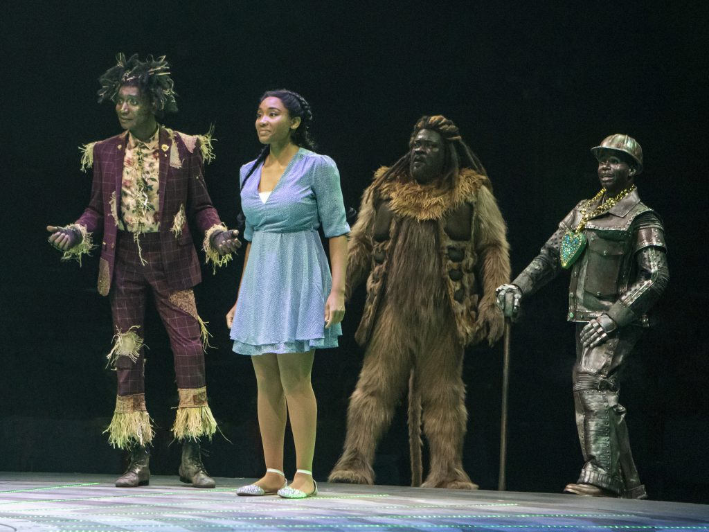 (L to R) Kevin Smith Kirkwood as Scarecrow, Adrianna Hicks as Dorothy, Phillip Boykin as Lion and James T. Lane as Tinman in THE WIZ produced by Broadway At Music Circus at the Wells Fargo Pavilion August 6-11. Photo by Charr Crail.