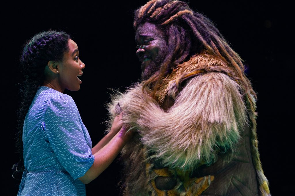 Adrianna Hicks as Dorothy and Phillip Boykin as Lion in THE WIZ produced by Broadway At Music Circus at the Wells Fargo Pavilion August 6-11. Photo by Kevin Graft.