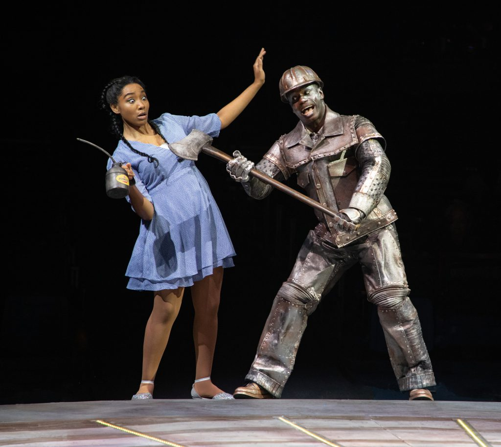 Adrianna Hicks as Dorothy and James T. Lane as Tinman in THE WIZ produced by Broadway At Music Circus at the Wells Fargo Pavilion August 6-11. Photo by Kevin Graft.