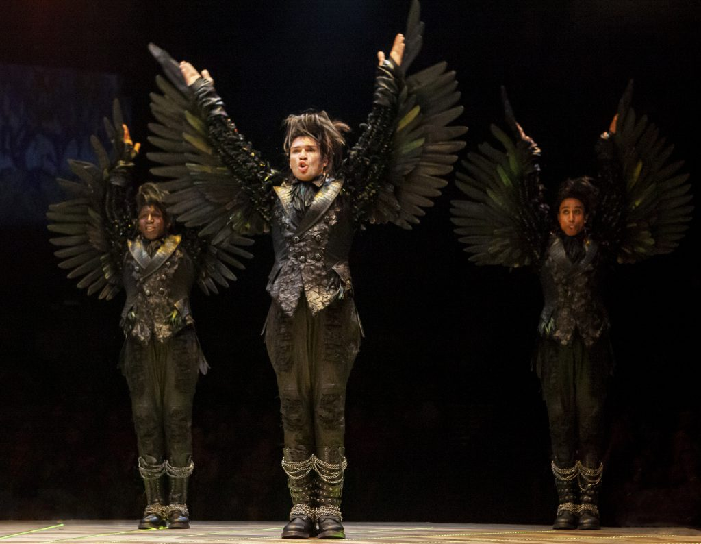 (L to R) Alfie Parker, Jr., Jeff Gorti and Francis Lawrence as Crows in THE WIZ produced by Broadway At Music Circus at the Wells Fargo Pavilion August 6-11. Photo by Charr Crail.