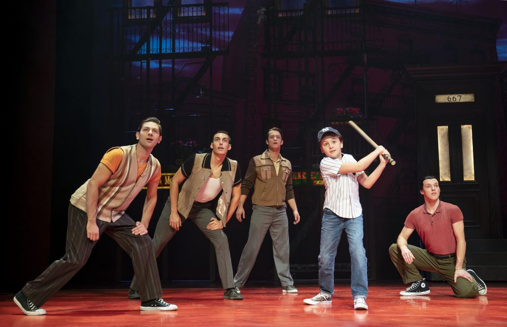 Trey Murphy as Young C and the company of A BRONX TALE presented by Broadway On Tour Mar. 3 – 8, 2020 at Memorial Auditorium. Photo by Joan Marcus.