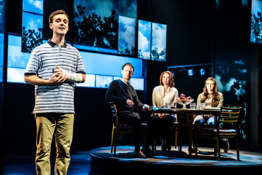 Stephen Christopher Anthony as Evan Hansen and the company of DEAR EVAN HANSEN presented by Broadway On Tour Jan. 15-26, 2020 at the Memorial Auditorium. Photo by Matthew Murphy.