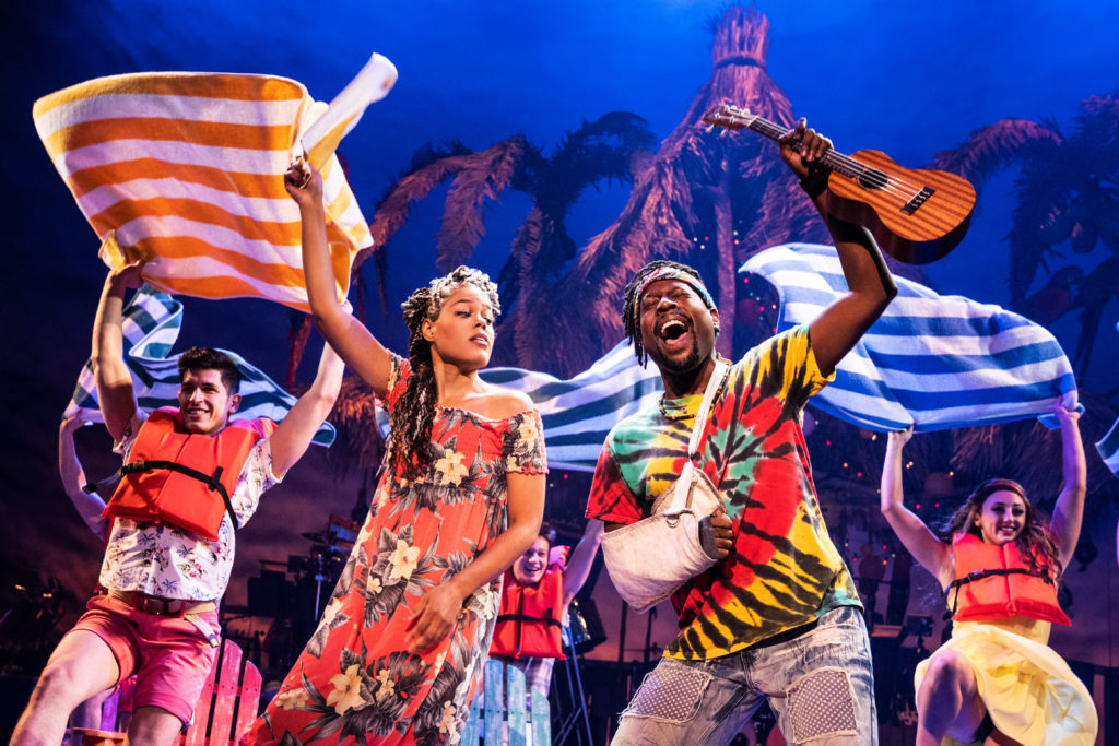 Rachel Lyn Fobbs as Marley, Matthew James Sherrod as Jamal and the company of Jimmy Buffett's ESCAPE TO MARGARITAVILLE presented by Broadway Sacramento at Memorial Auditorium Sep. 8-13, 2020. Photo by Matthew Murphy.