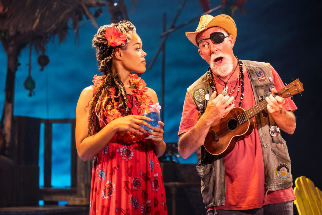 Rachel Lyn Fobbs as Marley and Patrick Cogan as J.D. in the Broadway Sacramento presentation of Jimmy Buffett's ESCAPE TO MARGARITAVILLE at Memorial Auditorium Sep. 8-13, 2020. Photo by Matthew Murphy.