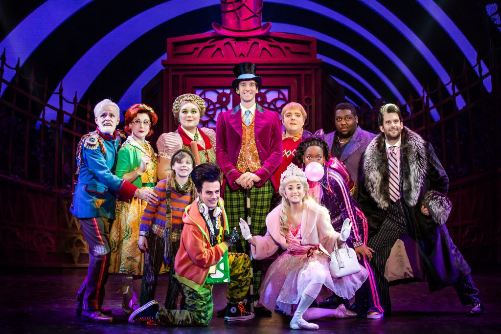 Cody Garcia as Willy Wonka and the company of Roald Dahl's CHARLIE AND THE CHOCOLATE FACTORY presented by Broadway On Tour December 28, 2021 – January 2, 2022 at the SAFE Credit Union Performing Arts Center. Photo by Jeremy Daniel.