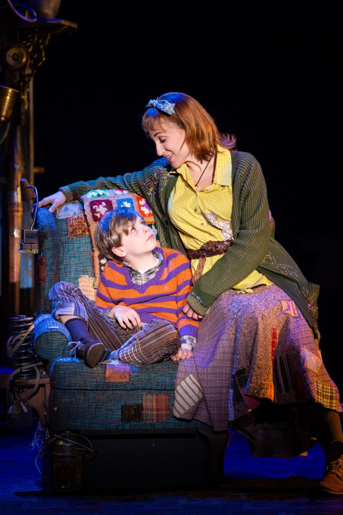 Brody Bett as Charlie Bucket and Caitlin Lester-Sams as Mrs. Bucket in Roald Dahl's CHARLIE AND THE CHOCOLATE FACTORY presented by Broadway On Tour December 28, 2021 – January 2, 2022 at the SAFE Credit Union Performing Arts Center. Photo by Jeremy Daniel.