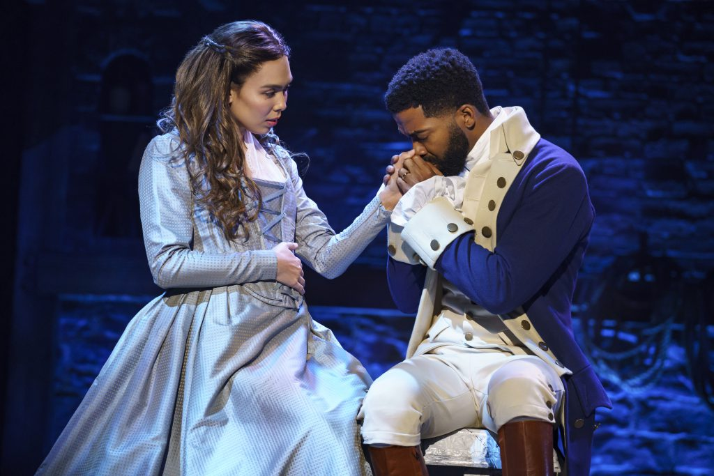 Julia K. Harriman and Julius Thomas III in HAMILTON presented by Broadway On Tour September 15 – October 10, 2021 at the SAFE Credit Union Performing Arts Center. Photo by Joan Marcus.