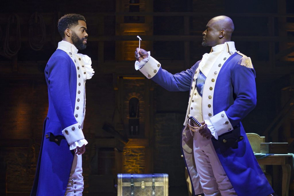 Julius Thomas III and Isaiah Johnson in HAMILTON presented by Broadway On Tour September 15 – October 10, 2021 at the SAFE Credit Union Performing Arts Center. Photo by Joan Marcus.