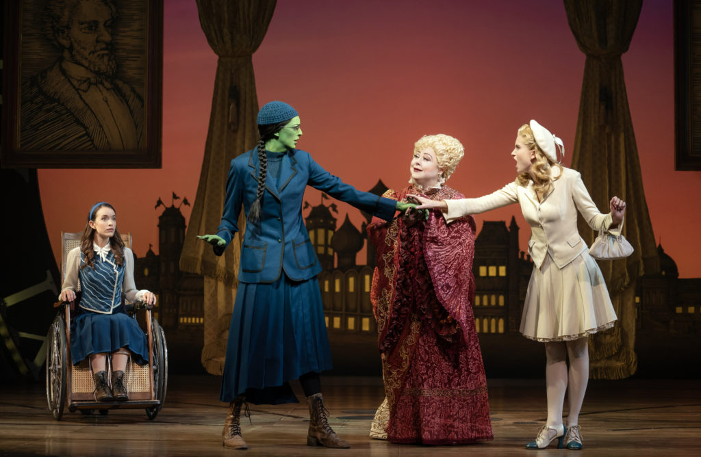 Amanda Fallon Smith, Talia Suskauer, Sharon Sachs and Allison Bailey in WICKED presented by Broadway On Tour at the SAFE Credit Union Performing Arts Center March 30 – April 24, 2022. Photo by Joan Marcus.